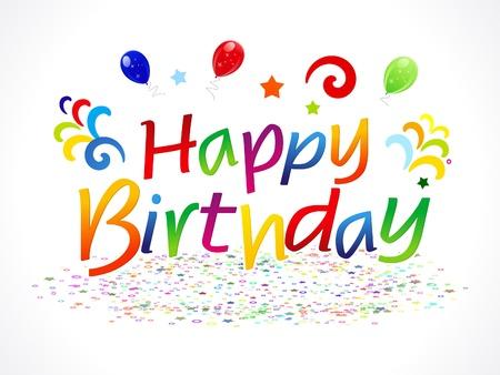 holiday celebrations: abstract happy birthday text vector illustration