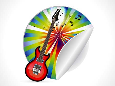 abstract guitar sticker illustration Vector