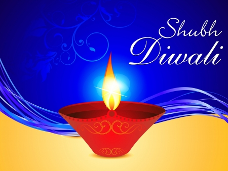 abstract diwali background with deepak vector illlustration Vector