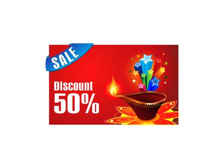 deepawali backdrop: abstract diwali discount gift card vector illustration Illustration