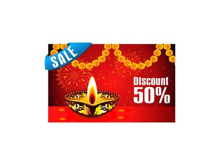 sales floor: abstract diwali discount gift card vector illustration Illustration