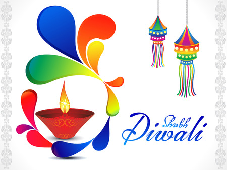 shubh: abstract artistic diwali background vector illustration