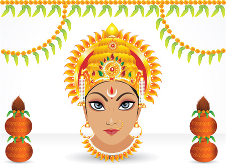 kalasha: abstract navratri festival wallpaper vector illustration