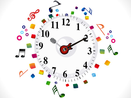 abstract musical clock background vector illustration Vector
