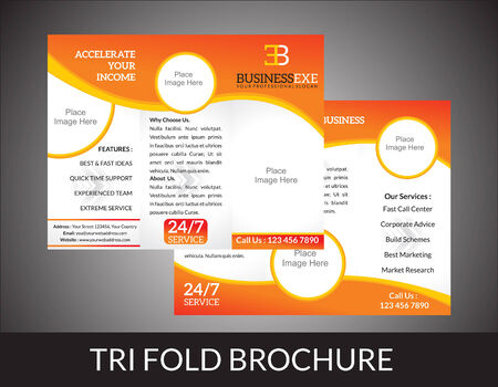 tri fold: abstract tri fold brochure concept vector illustration
