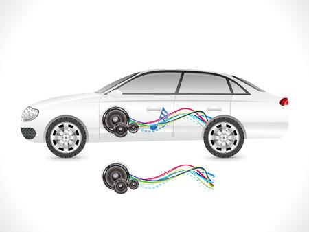 speed of sound: abstract sedan car sticker vector illustration