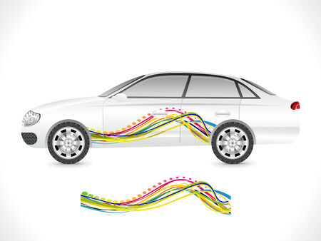 aerodynamics: abstract sedan car sticker vector illustration