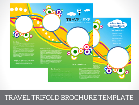 tri fold: abstract tri fold brochure vector illustration