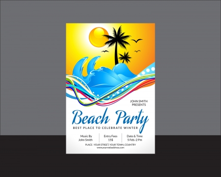 evening party: abstract beach party flyer vector illustration Illustration