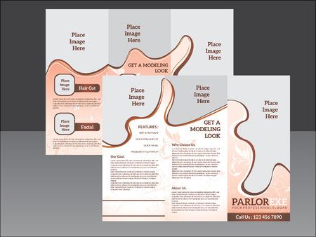 parlor: abstract artistic parlor tri fold brochure illustration Illustration