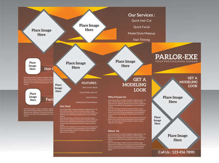 parlor: abstract parlor tri fold brochure vector illustration Illustration