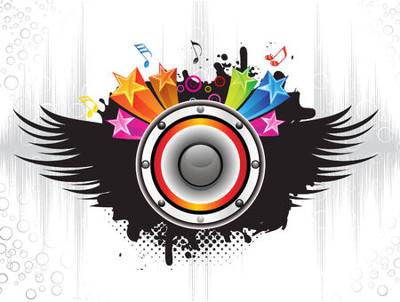 rainbow music: abstract detailed musical background vector illustration