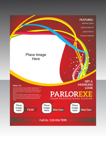 parlor: abstract parlor flyer template vector illustration