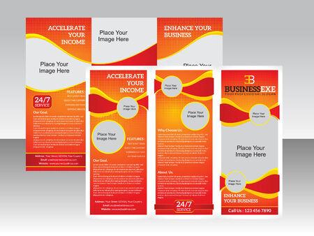 fold back: abstract tri fold brochure template vector illustration