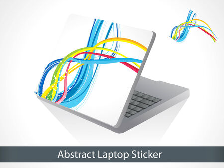 suprise: abstract colorful laptop sticker vector illustration