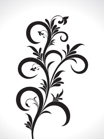black and white plant: abstract artistic floral background vector illustration Illustration