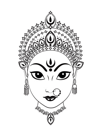 devi: abstract artistic detailed of durga background illustration