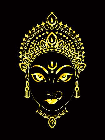 devi: abstract artistic golden detailed of durga background illustration