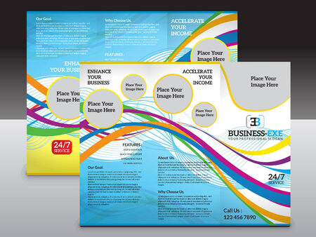 tri: abstract colorful tri fold brochure template illustration