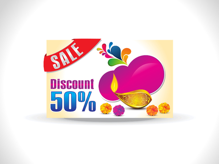 shubh: abstract golden diwali on artistic purple shape discount card vector illustration