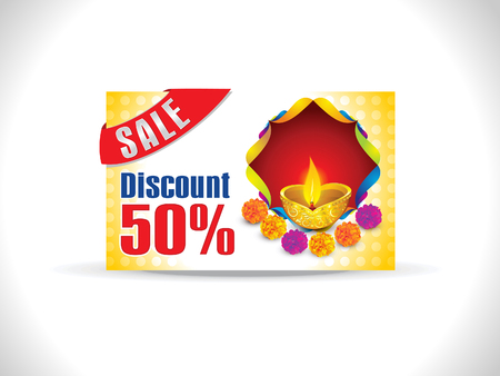 shubh diwali: abstract artistic diwali on yellow background discount card vector illustration