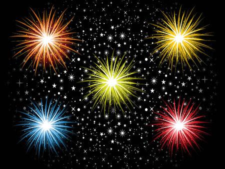 christmas cracker: abstract detailed colorful cracker explode in sky vector illustration Illustration