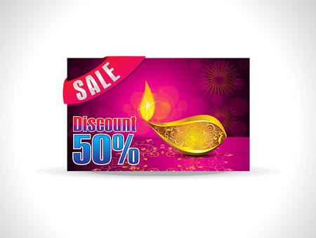 deepak: abstract artistic golden deepak on purple background discount card vector illustration