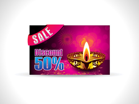 shubh: abstract artistic golden diwali on purple background discount card vector illustration