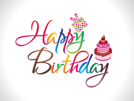 abstract colorful happy birthday text vector illiustration