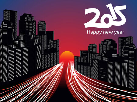 newyear card: abstract new year city morning vector illustration Illustration