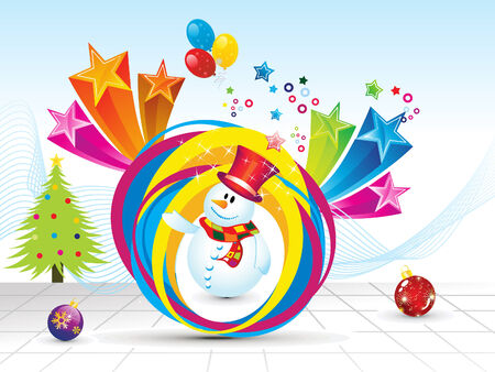 snow man: abstract christmas background with snow man vector illustration