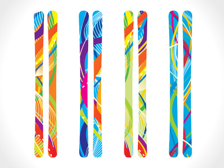 snowboarder: abstract colorful skies set vector illustration
