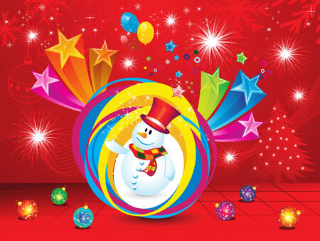 snow man: abstract christmas explode background with snow man vector illustration Illustration