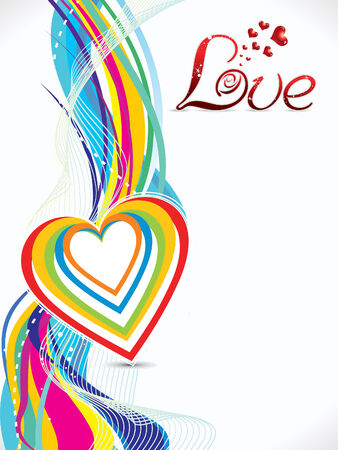 febuary love glossy shiny creative: abstract colorful love wave background illustration