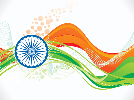 indian flag: abstract artistic indian flag wave background illustration