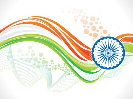 independencia: art�stico indio onda bandera ilustraci�n vectorial
