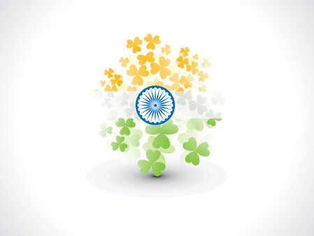 indian flag: abstract artistic creative indian clover flag vector illustration