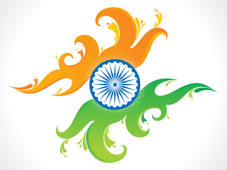 indian flag: abstract artistic indian flag wave background vector illustration Illustration