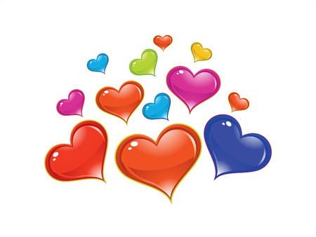 abstract artistic shiny colorful heart background illustration