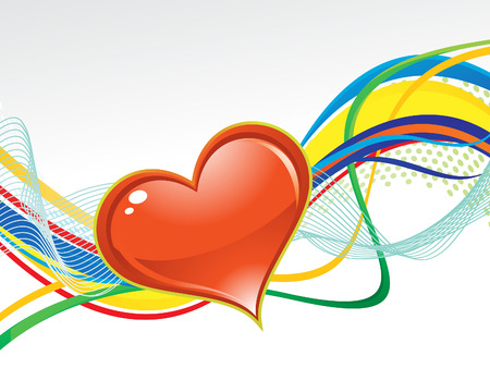 abstract artistic colorful wave background with heart illustration