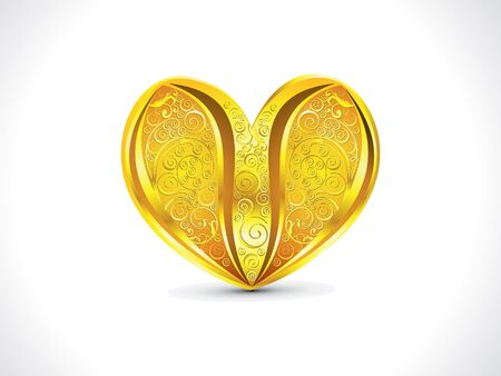 golden heart: abstract artistic golden floral heart background illustration