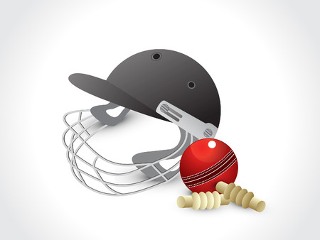 batsman: abstract cricket elements with helmet vector illustration Illustration