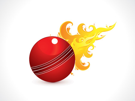 leather stitch: abstract shiny cricket ball with fire vector illustration