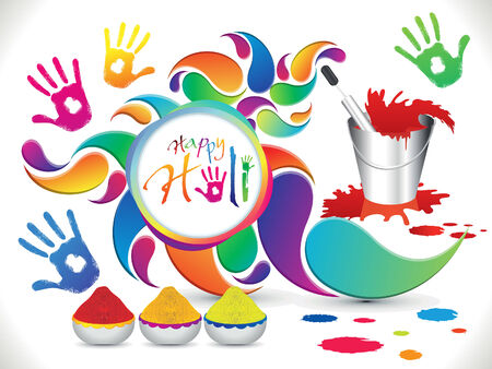 thali: abstract artistic holi elements vector illustration