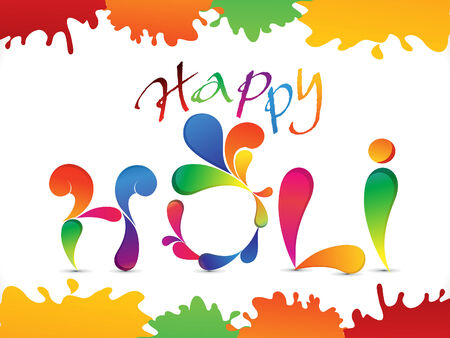 thali: abstract colorful holi text vector illustration