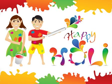 thali: abstract colorful holi cartoon playing holi vector illustration Illustration