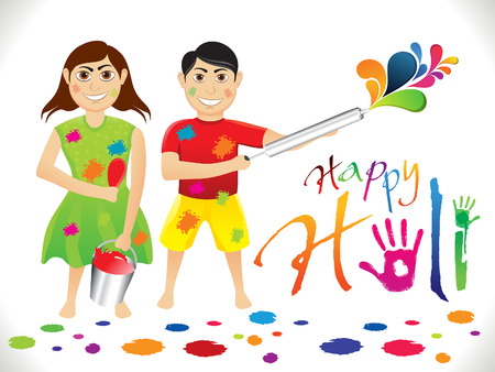 thali: abstract artistic holi cartoon vector illustration