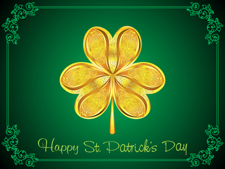 patric: abstract artistic golden st patrick clover background illustration