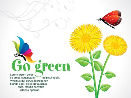 go green background: abstract artistic go green background with flower vector illustration Illustration