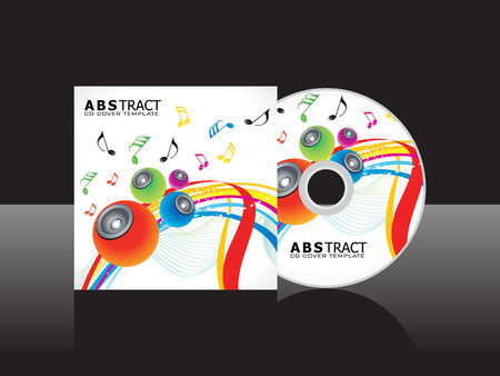 cd label: abstract artistic musical cd cover template vector illustration Illustration